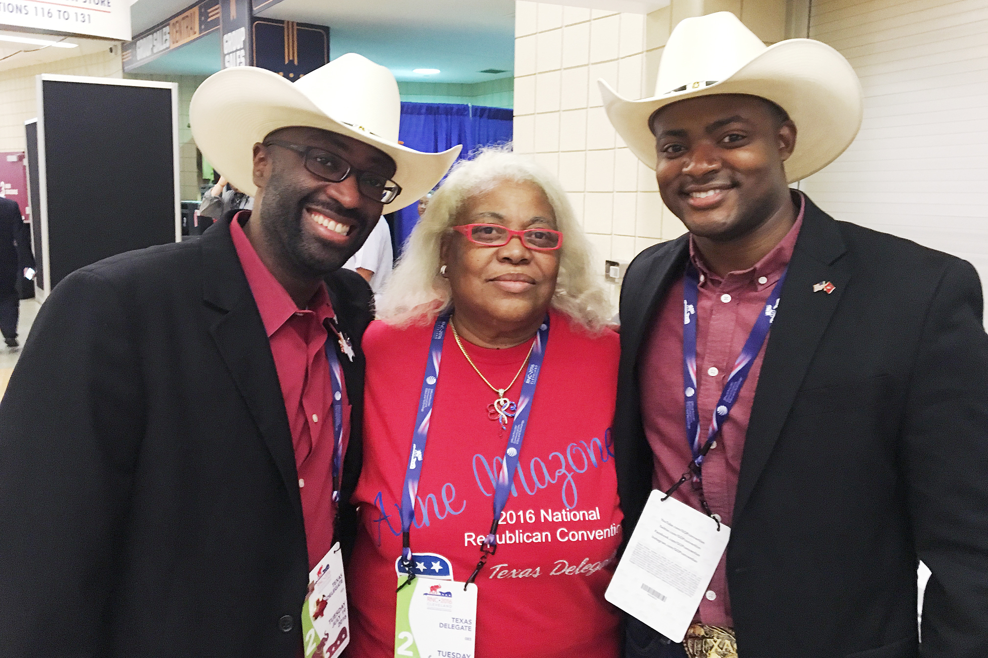 From l-r, Texas delegates Christopher Harvey, Anne Mazone and Reginald Grant.