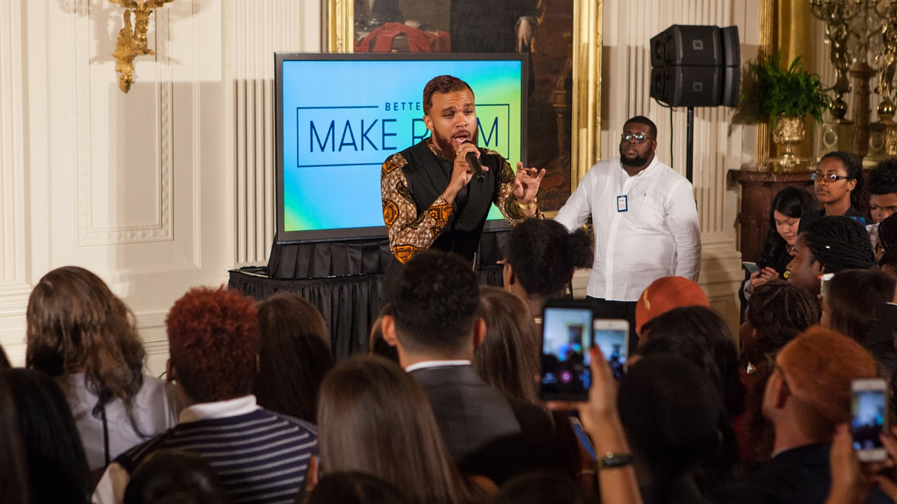 On Tuesday, July 19, in the East Room of the White House, as part of First Lady Michelle Obamas Reach Higher initiative and Better Make Room campaign, musical artist, Jidenna, performed for over 130 college-bound students.