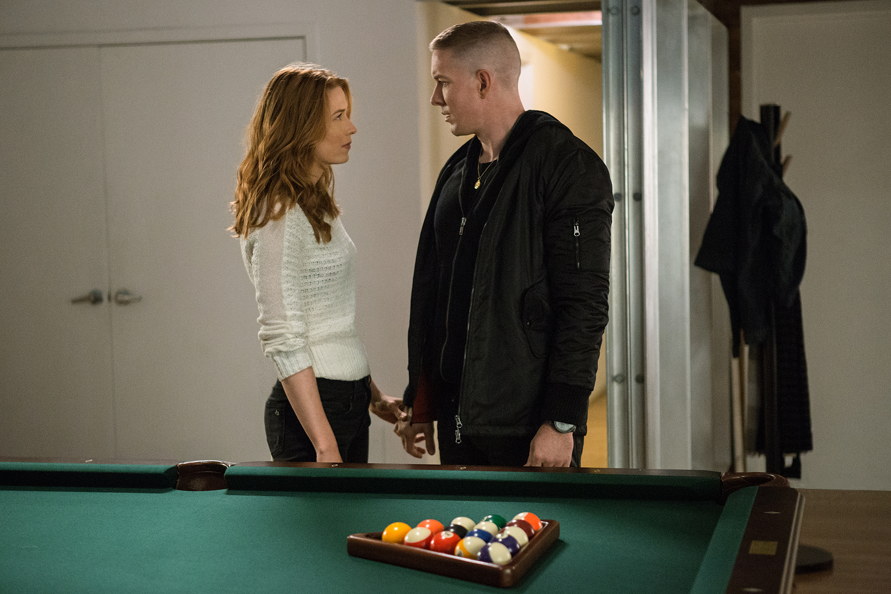 Tommy (Joseph Sikora and Holly (Lucy Walters) in a scene from 'Power.'