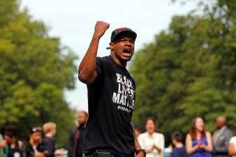 Demonstrator chants during protest against fatal shooting of Philandro Castile in Minnesota