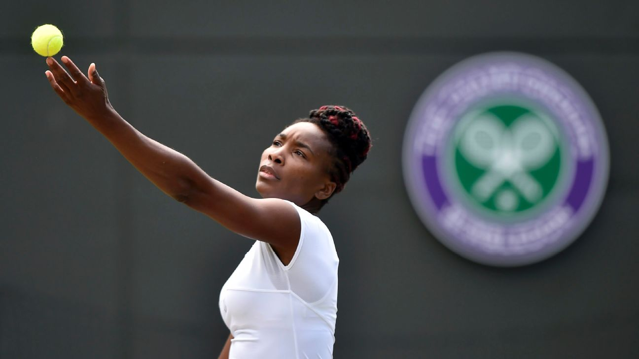 Venus Williams of the US serves to Yaroslava Shvedova of Kazakhstan in their quarter final match during the Wimbledon Championships at the All England Lawn Tennis Club, in London, Britain, 05 July 2016.