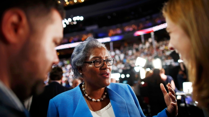 Donna Brazile, the acting Chair of the Democratic National Committee since the resignation of Debbie Wasserman Schultz, talks to the media on the floor