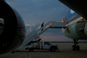 Obama boards Air Force One for travel to Philadelphia to speak on the third night of the Democratic National Convention, from Joint Base Andrews, Maryland