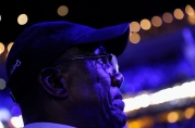 Tears stream down the face of a delegate as he listens to U.S. President Barack Obama speak on the third night at the Democratic National Convention in Philadelphia