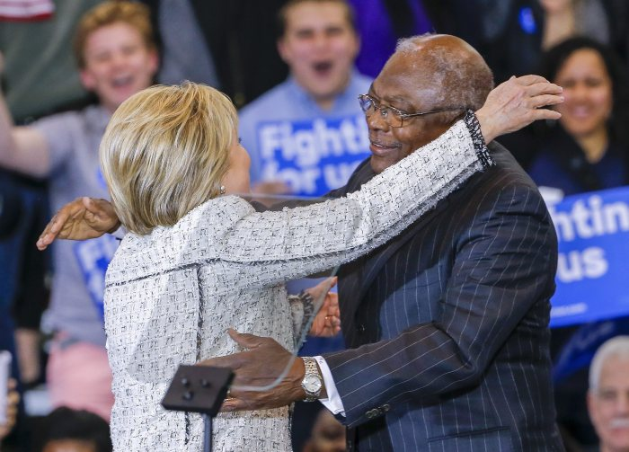 Democratic 2016 US presidential candidate former US Secretary of State Hillary Clinton (L) is greeted by South Carolina US Representative Jim Clyburn (R) as she celebrates her South Carolina Democratic presidential primary election victory against Vermont Senator Bernie Sanders in Columbia, South Carolina, USA, 27 February 2016.