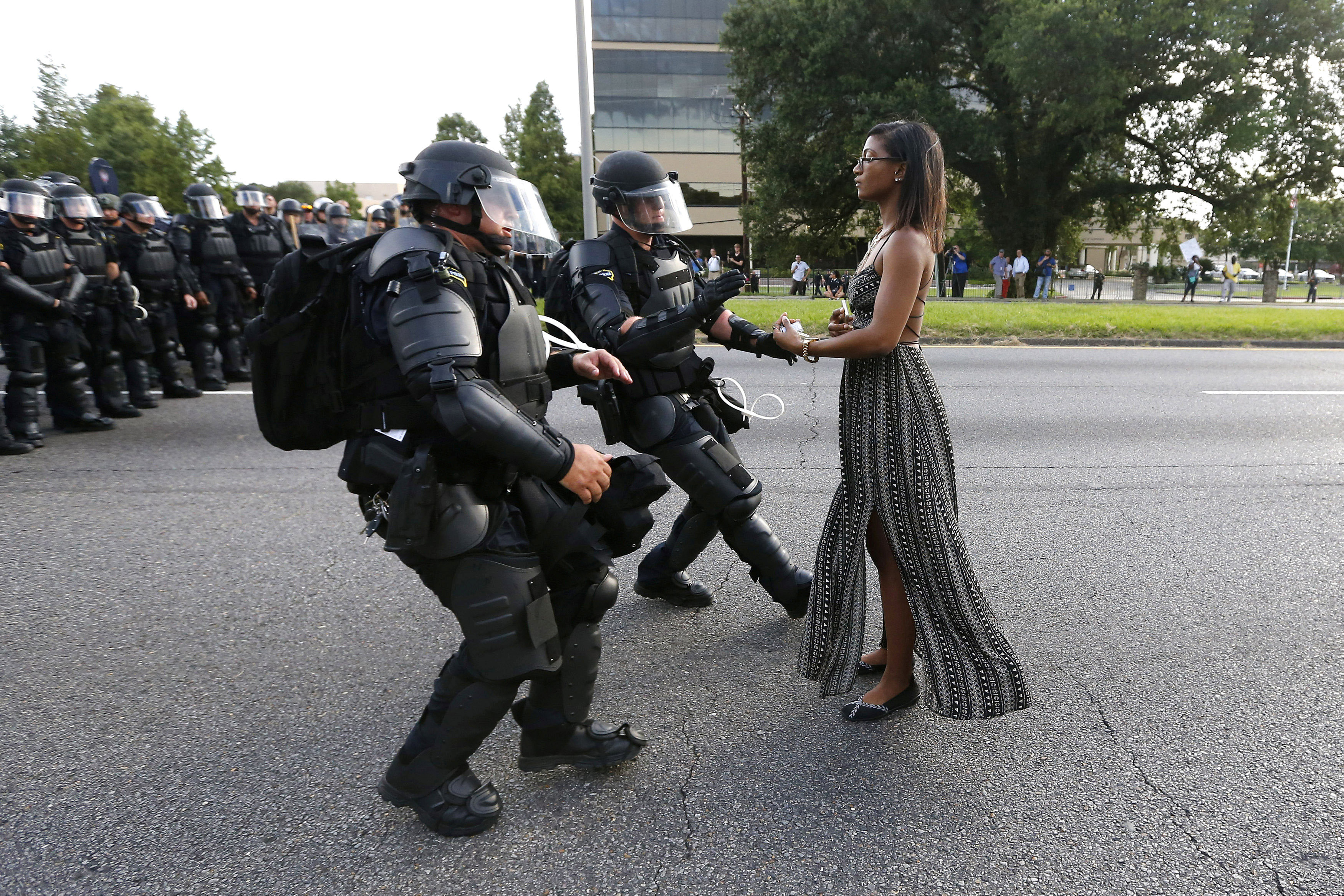 Protestor Ieshia Evans is detained by law enforcement near the headquarters of the Baton Rouge Police Department in Baton Rouge, Louisiana.