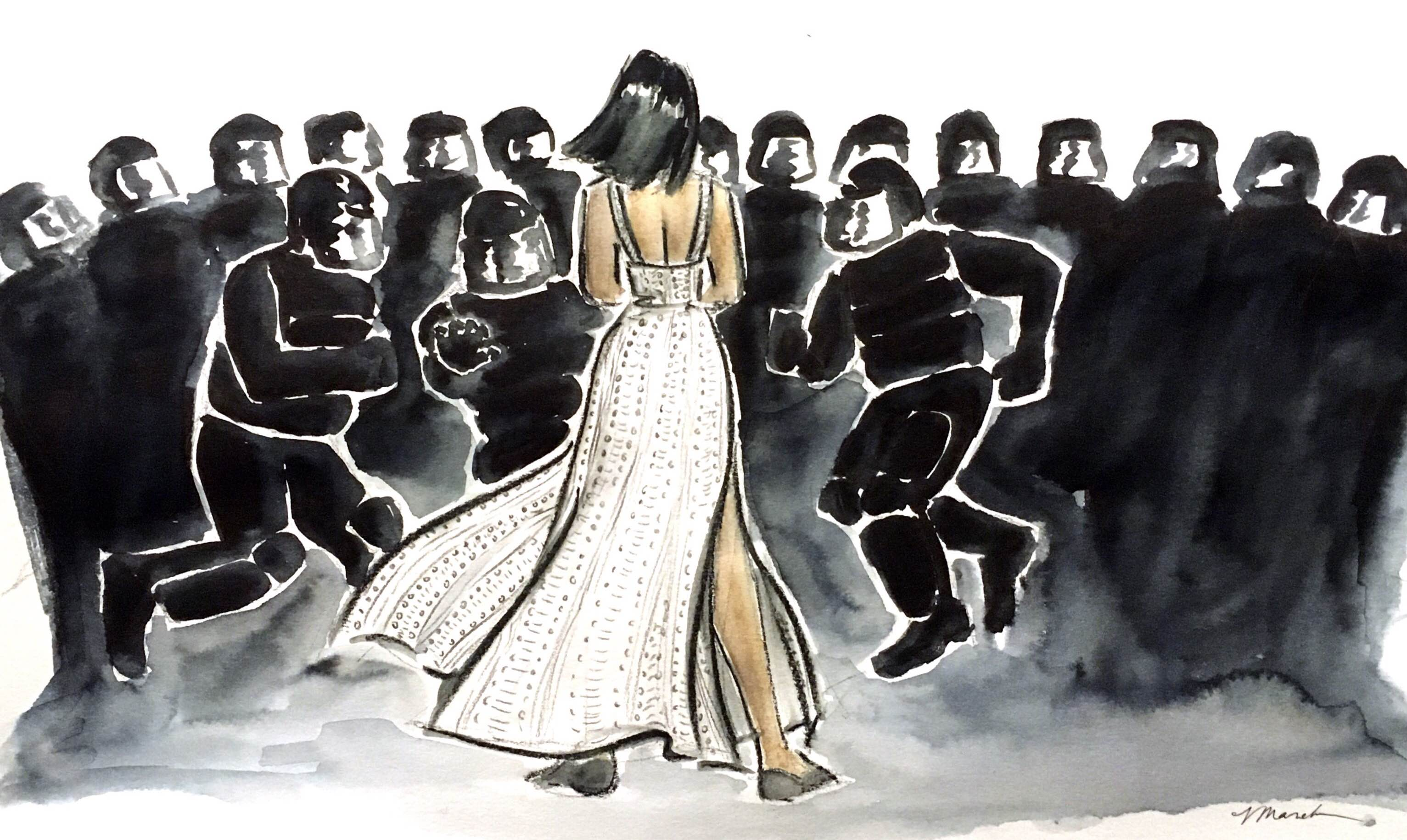 Protestor Ieshia Evans and the officers of the Baton Rouge, Louisiana police department, as illustrated by Veronica Marché Jamison.