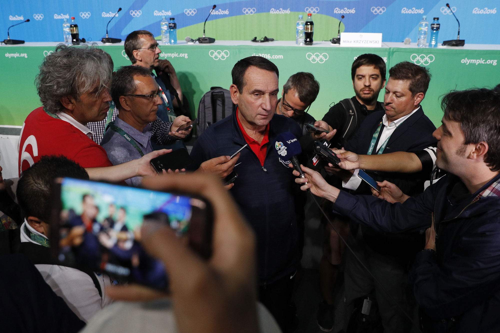 Team USA coach Mike Krzyzewski speaks to the media during a press conference during the Rio 2016 Summer Olympic Games at Main Press Center.