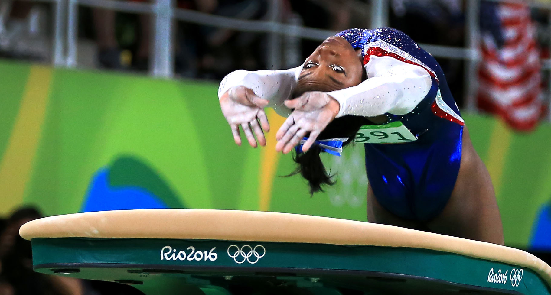 August 11, 2016 - Rio de Janeiro, RJ, Brazil - USA's Simone BILES launches herself on the vault during the Women's Individual All-Around Final Thursday at the 2016 Rio Summer Olympics.