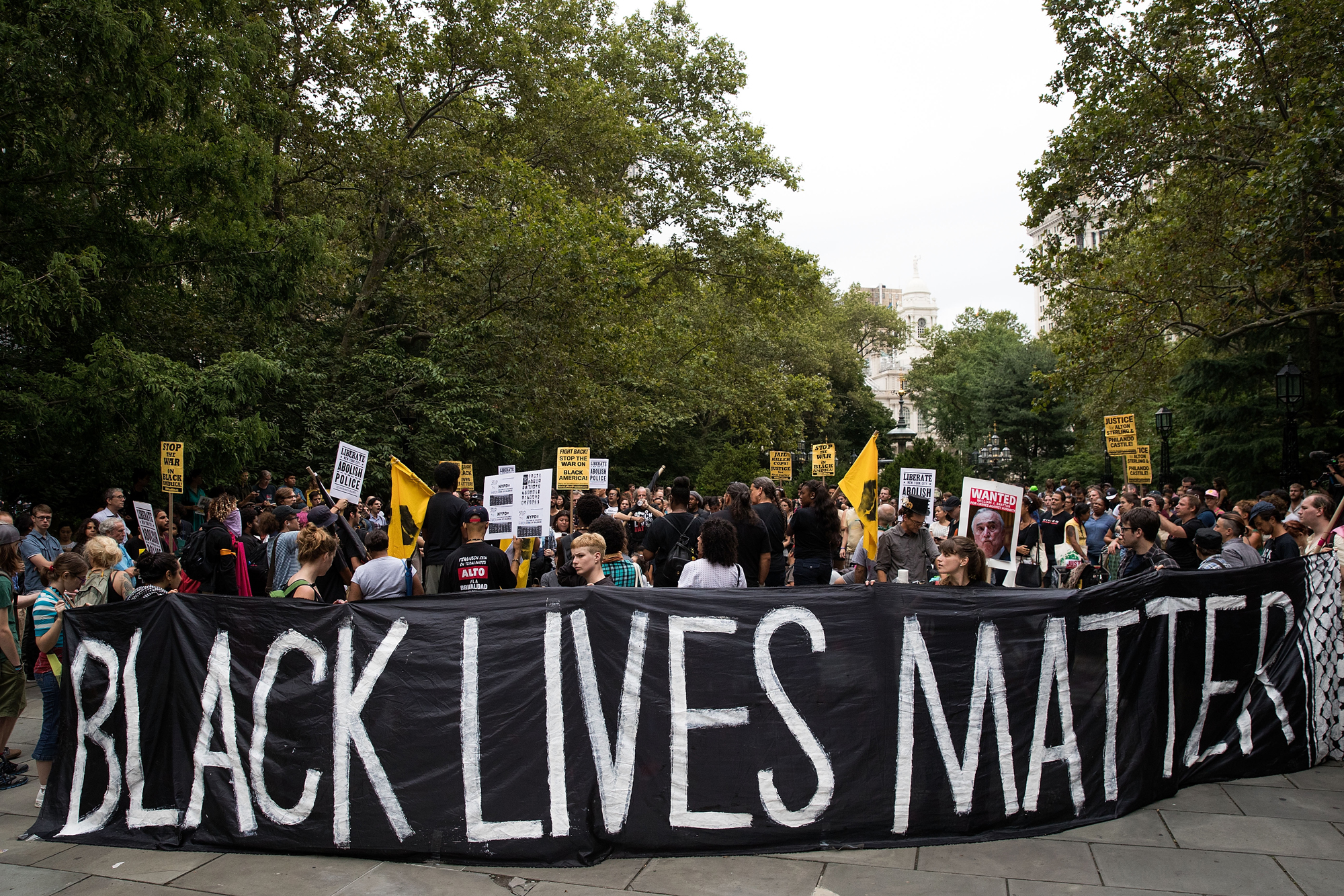 Protestors rally during a protest against police brutality at City Hall Park, August 1, 2016 in New York City.