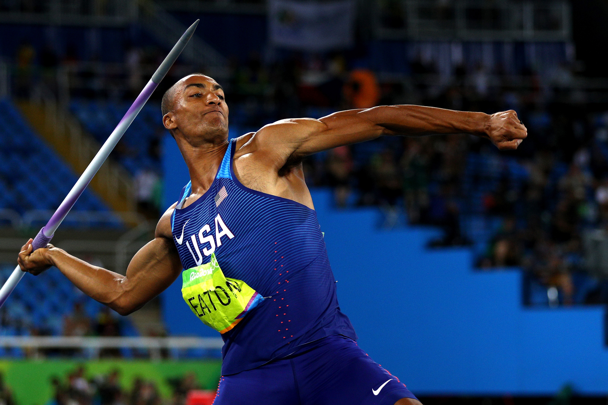 Ashton Eaton of the United States competes in the Men's Decathlon Javelin Throw on Day 13 of the Rio 2016 Olympic Games at the Olympic Stadium on August 18, 2016 in Rio de Janeiro, Brazil.
