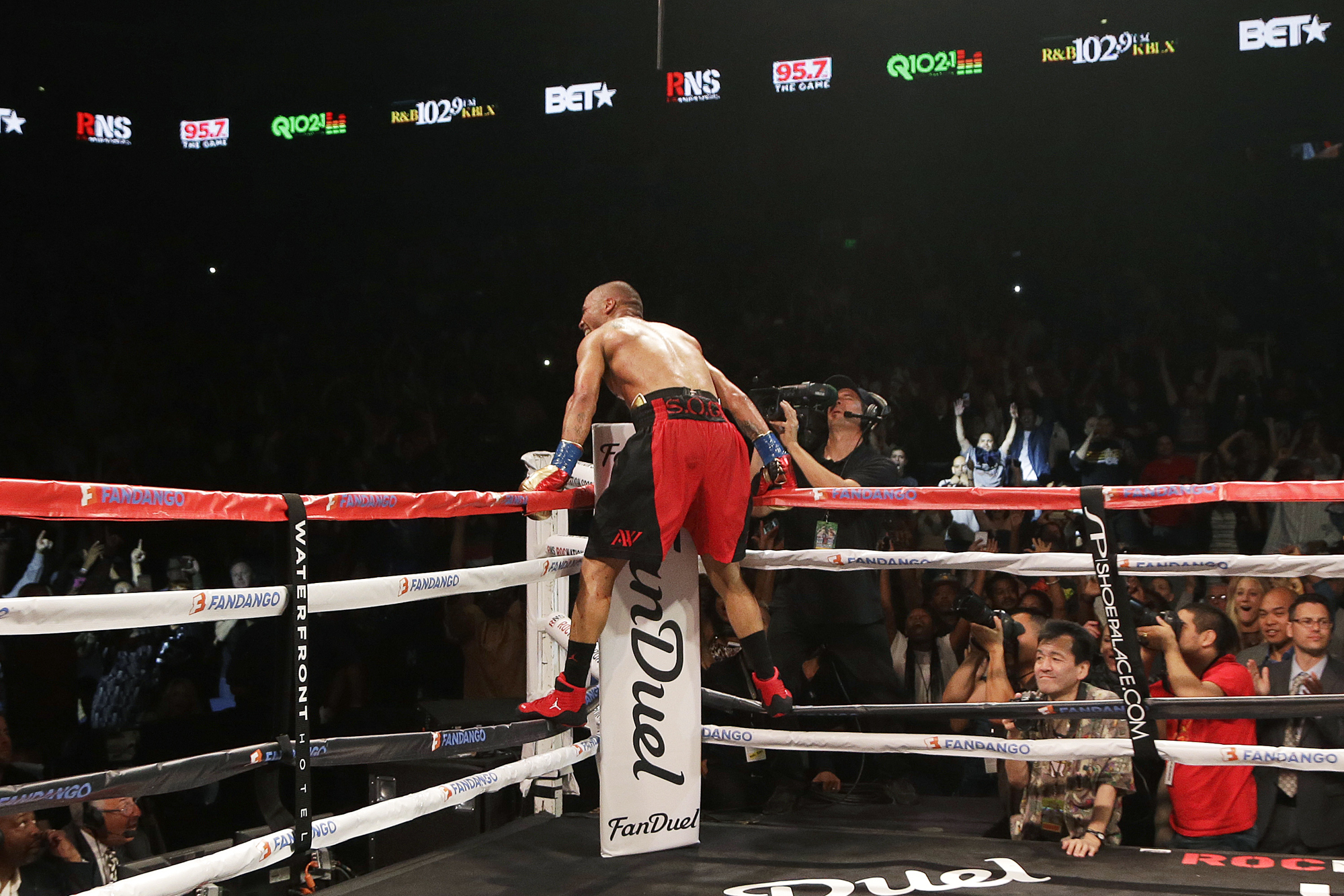 Andre Ward celebrates after beating Paul Smith in a cruiserweight boxing match in Oakland, Calif., Saturday, June 20, 2015. Ward won when Smith's corner threw in the towel in the ninth round.
