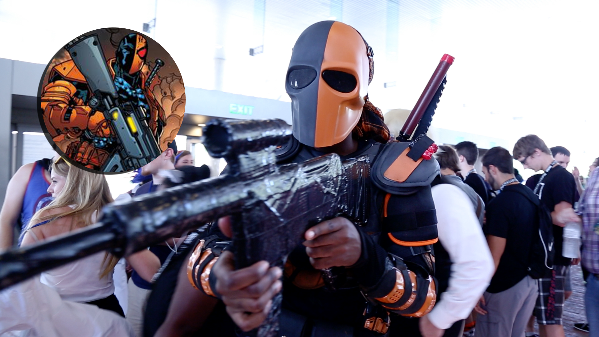 "A ""Deathstroke"" cosplayer poses in a fighting stance"