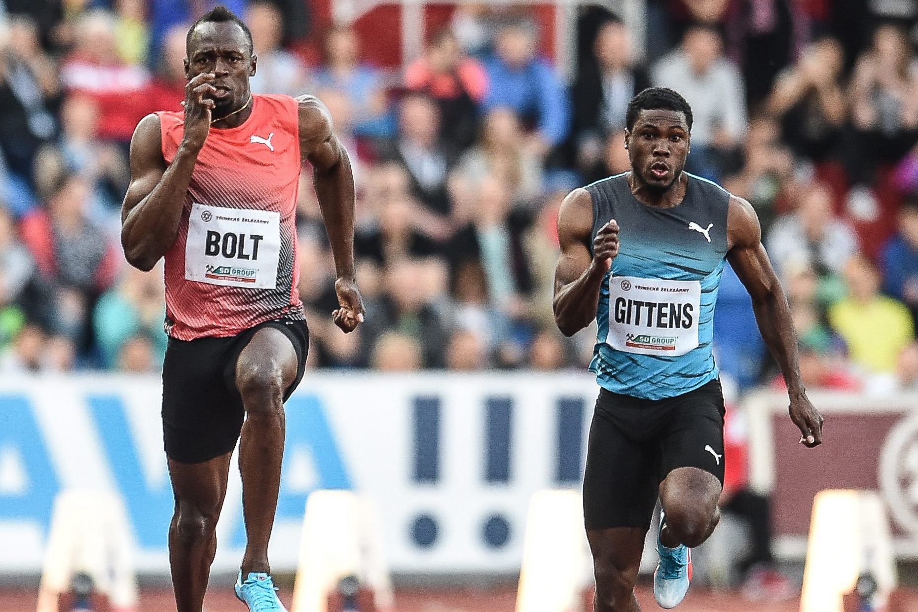 (L-R) Usain Bolt of Jamaica and Ramon Gittens of Barbaros in action during the Men's 100m race at the IAAF World challenge Golden Spike meeting in Ostrava, Czech Republic, May 20, 2016.