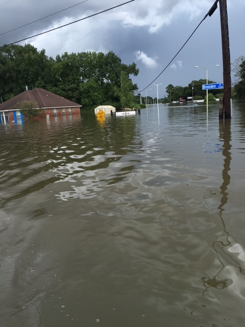 A photo of the Giles' neighborhood when the water crested.