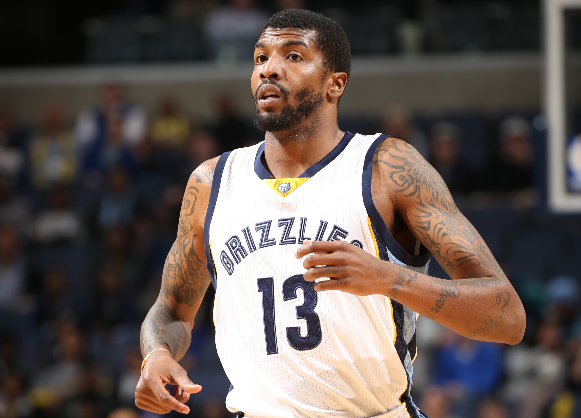 Tyrus Thomas #13 of the Memphis Grizzlies during the game against the Denver Nuggets on January 29, 2015 at FedExForum in Memphis, Tennessee.