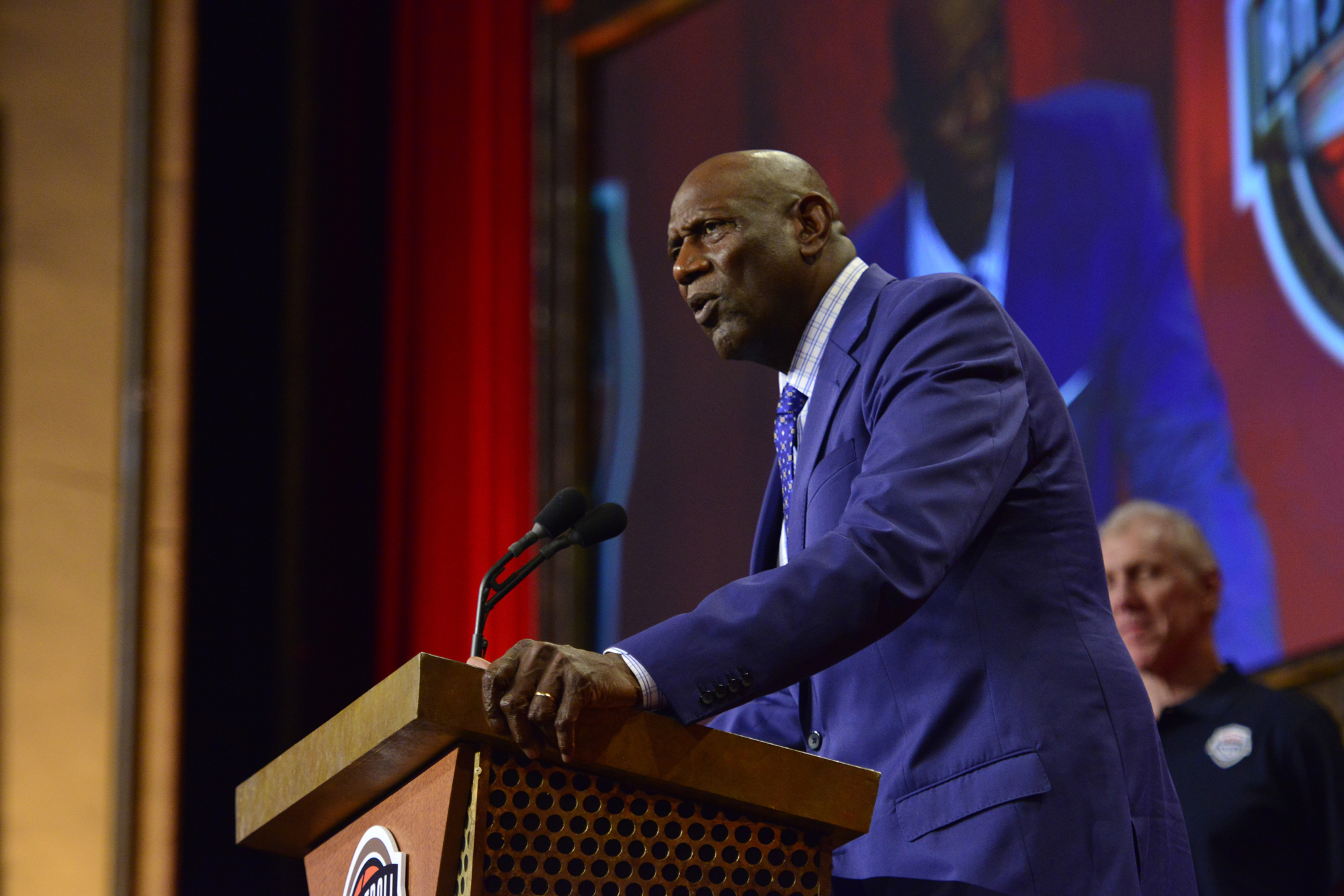 Inductee Spencer Haywood speaks during the 2015 Basketball Hall of Fame Enshrinement Ceremony on September 11, 2015 at the Naismith Basketball Hall of Fame in Springfield, Massachusetts.