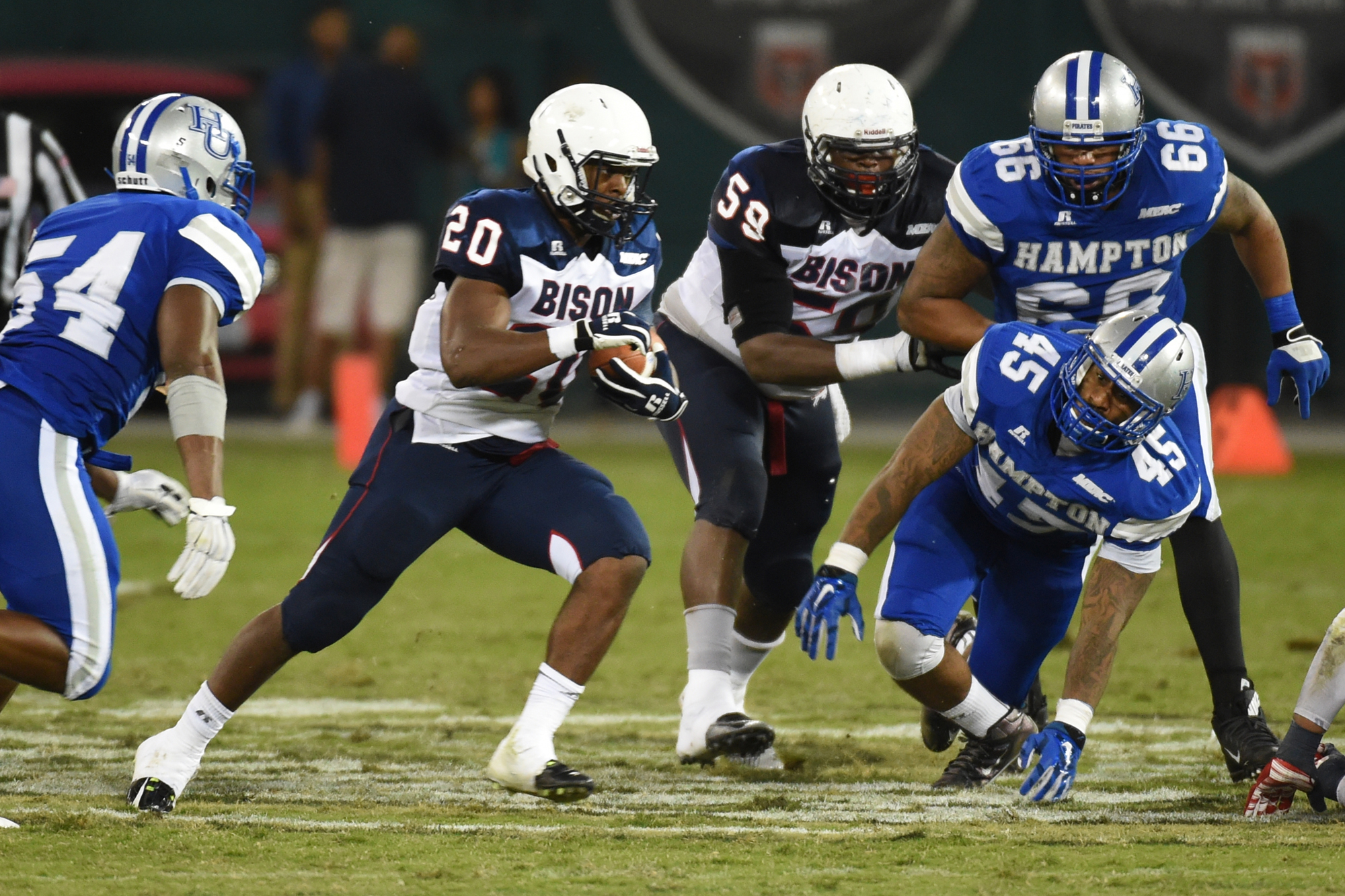 Howard Bison running back Aquanius Freeman (20) hits a big hole for a second quarter gain against Hampton on September 18, 2015 in Washington, DC.