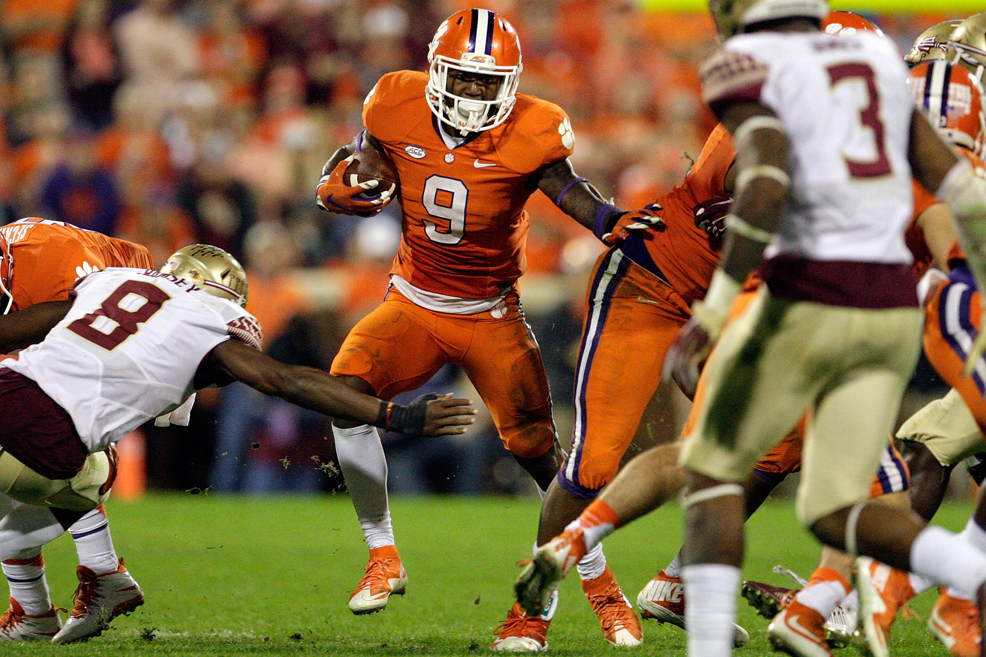Wayne Gallman #9 of the Clemson Tigers rushes the ball during the game against the Florida State Seminoles at Memorial Stadium on November 7, 2015 in Clemson, South Carolina.