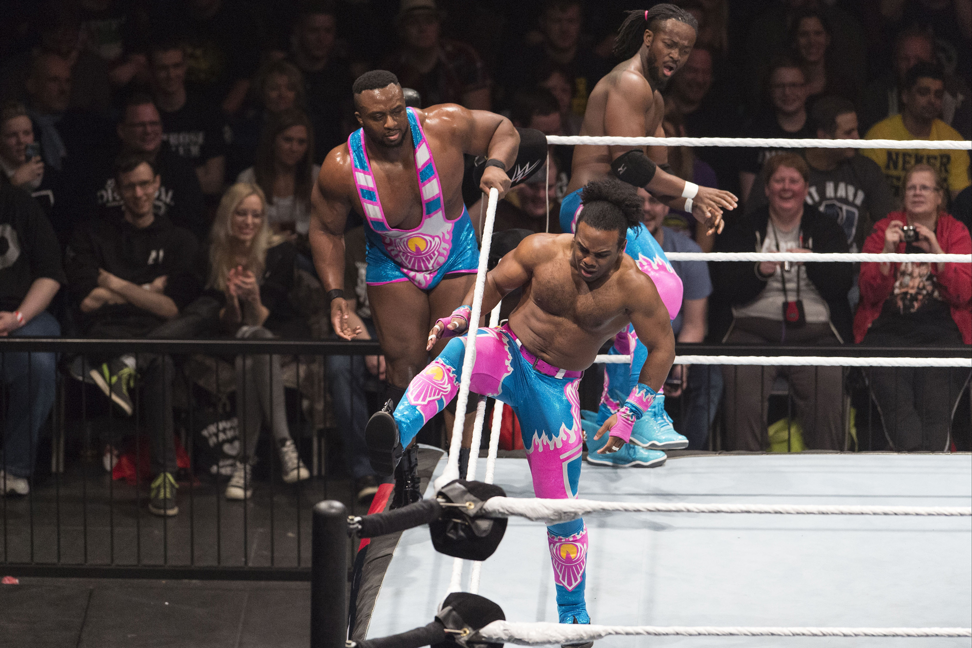 COLOGNE, GERMANY - FEBRUARY 11: The New Day during WWE Road to WrestleMania at the Lanxess Arena on February 11, 2016 in Cologne, Germany. (Photo by Marc Pfitzenreuter/Getty Images)