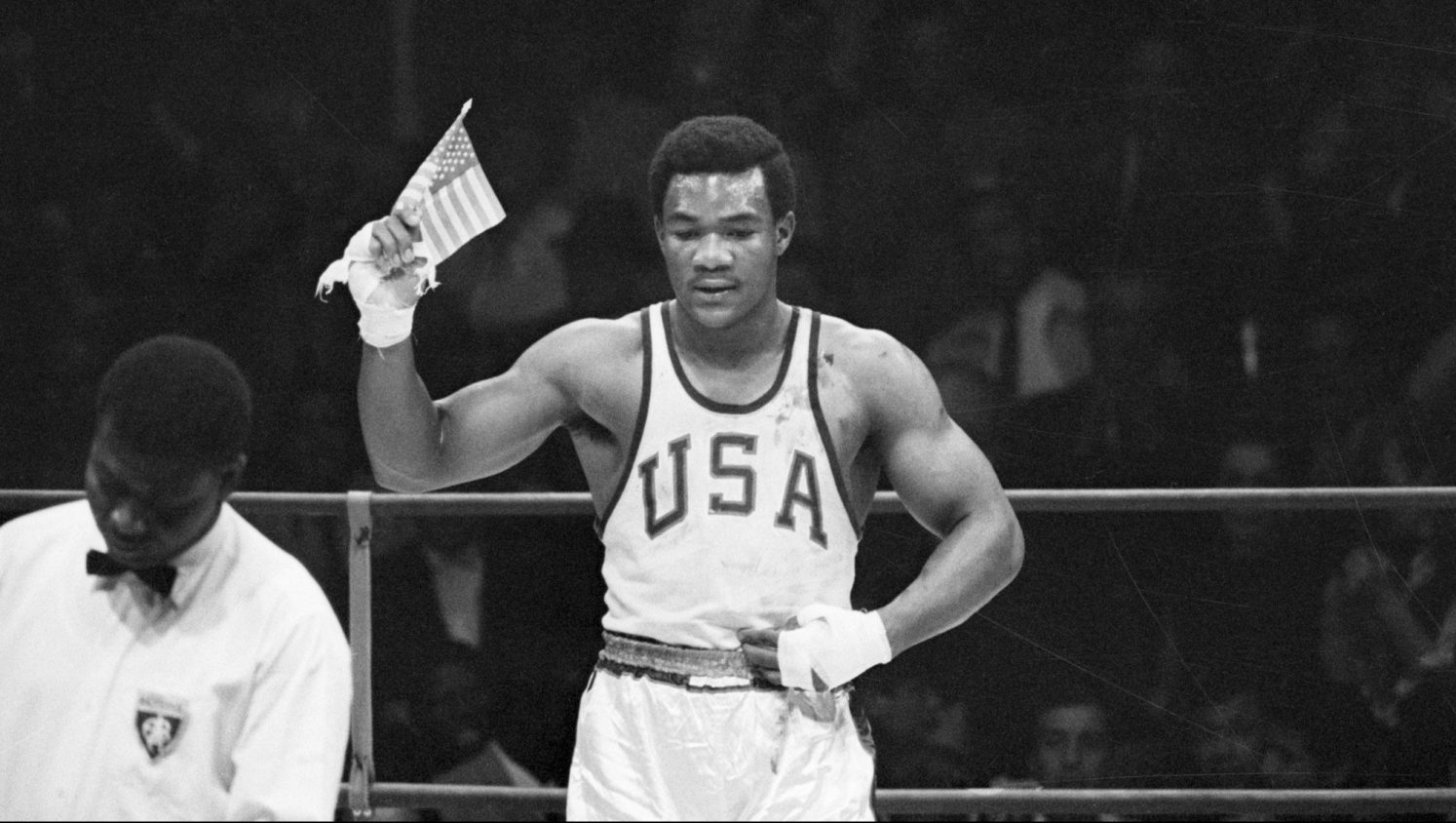 George Foreman Waves US Flag at Olympic Games
