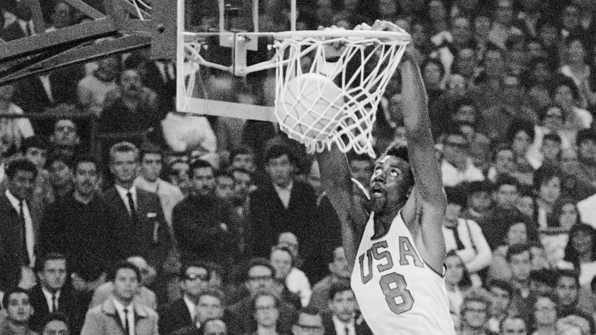 Olympic Player Spencer Haywood Scoring Basket
