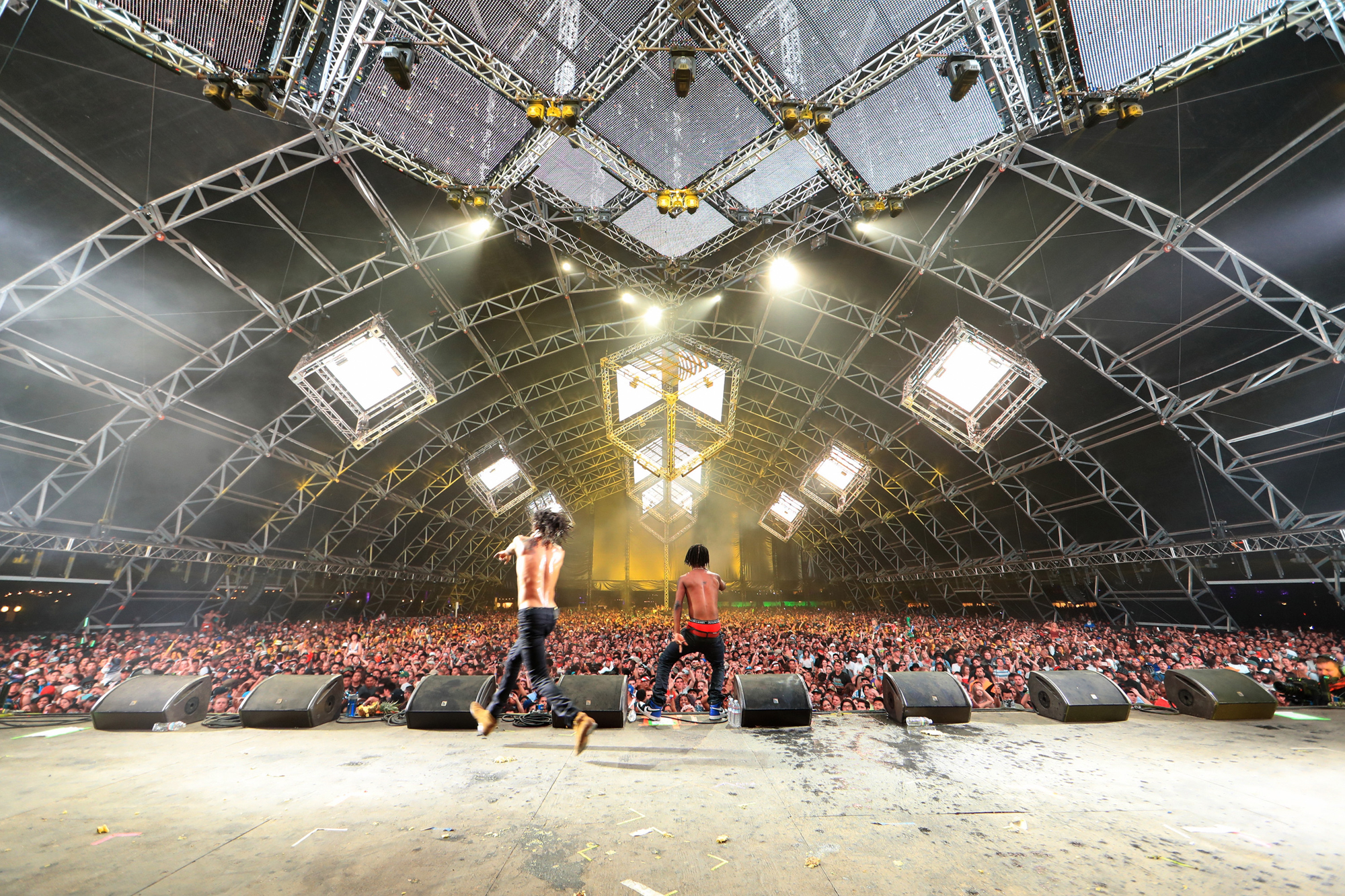 Recordings artists Swae Lee and Slim Jimmy of Rae Sremmurd perform onstage during day 1 of the 2016 Coachella Valley Music & Arts Festival Weekend 2 at the Empire Polo Club on April 22, 2016 in Indio, California.