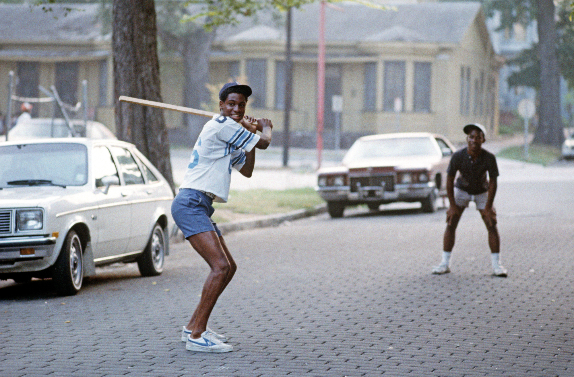 African Americans Playing Baseball In Street In Downtown Savannah, Georgia, USA, July 1983