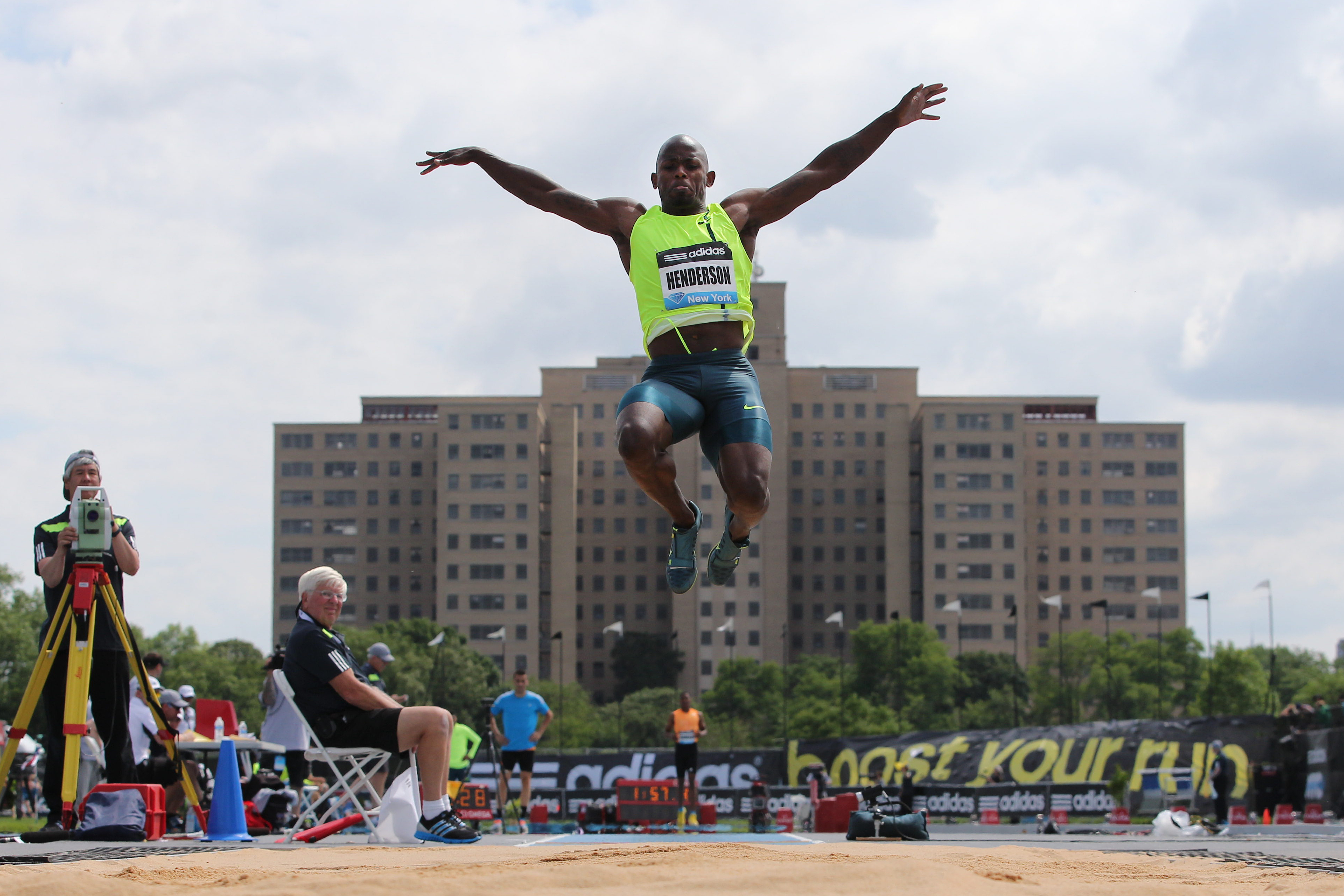 Jeff Henderson, USA, in action while winning the Men's Long Jump competition during the Diamond League Adidas Grand Prix at Icahn Stadium, Randall's Island, Manhattan, New York, USA. 14th June 2014.