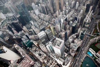 China – Hong Kong – Aerial view of the high rise skyline