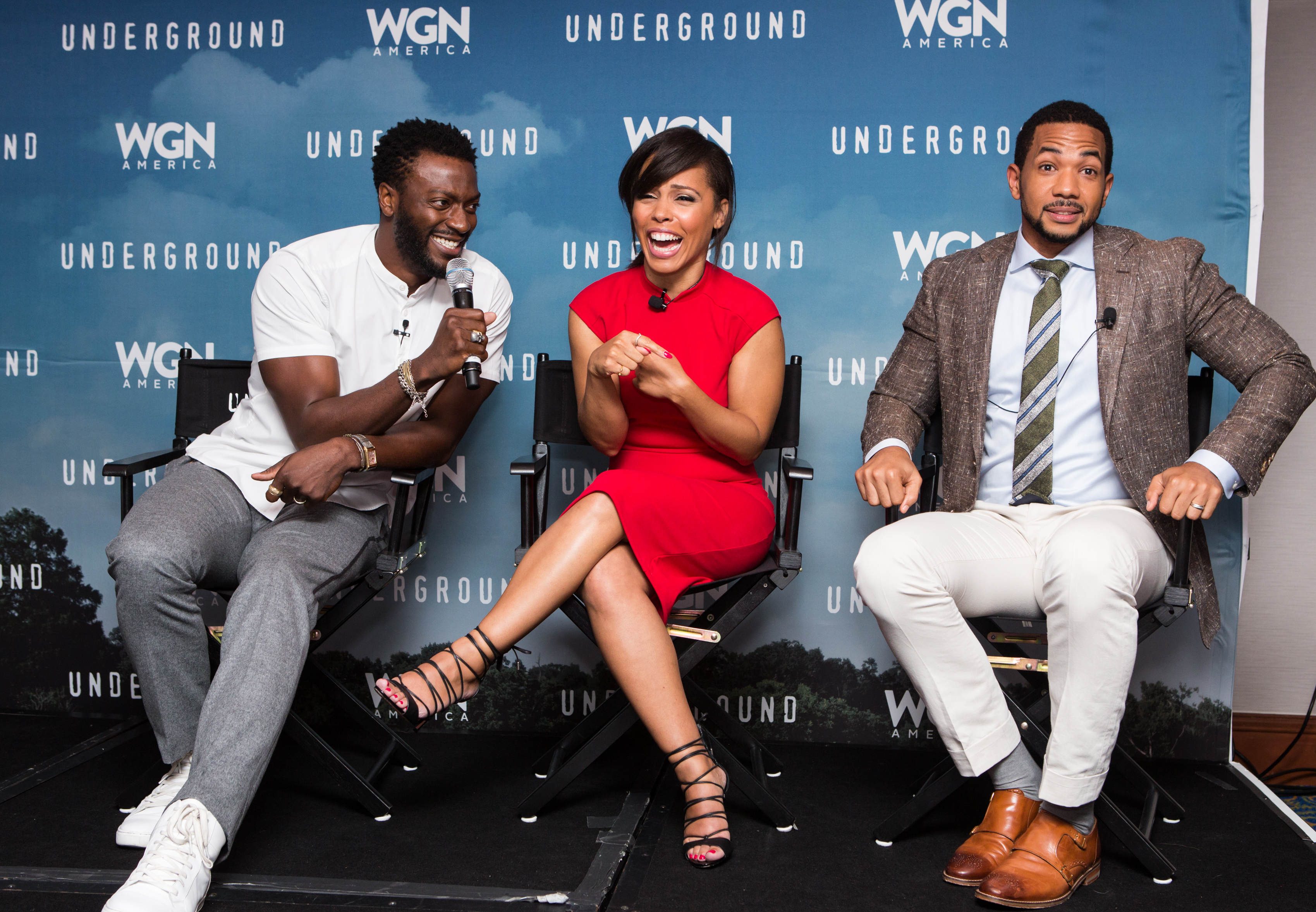"On Friday, August 5, at the Marriott Wardman Park Hotel, l-r, Aldis Hodge, Amirah Vann, and Alano Miller, cast from WGN's ""Underground"", talk to journalists about the new season."
