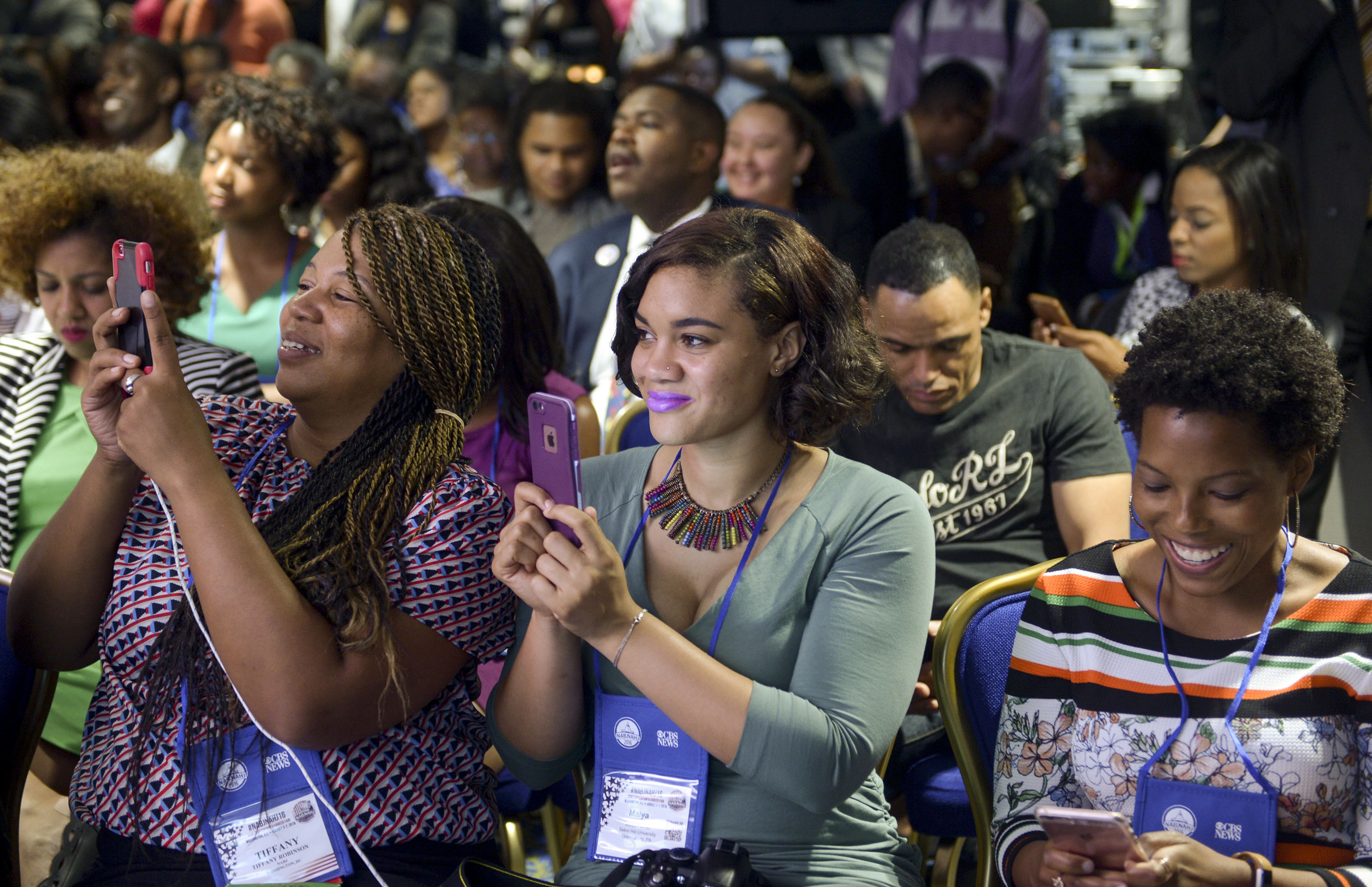 "Attendees of the WGN America's ""Underground"" reception listen to a Q&A session during the 2016 NABJ/NAHJ Convention at Washington Marriott Wardman Park Hotel on August 5, 2016 in Washington, DC."