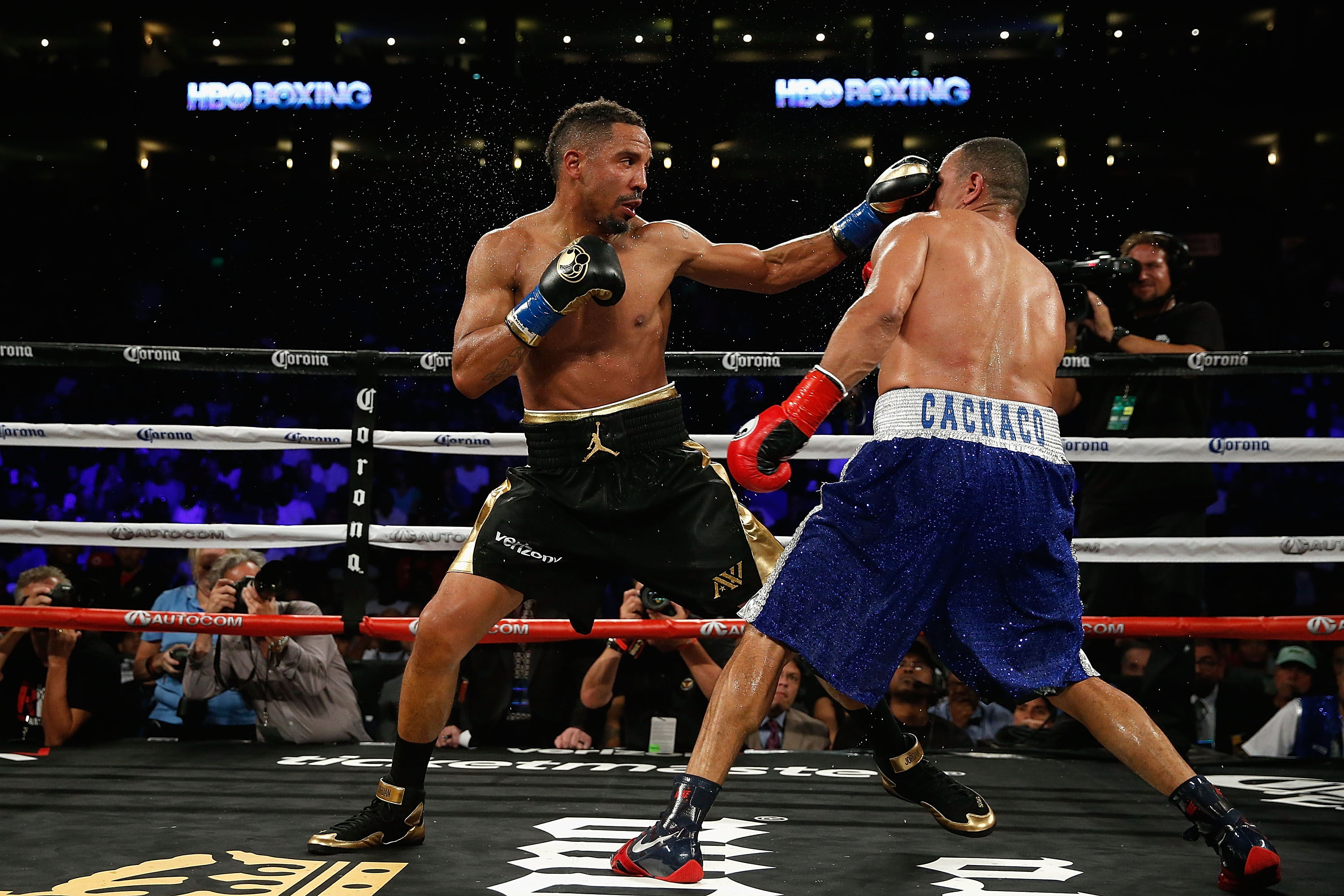Andre Ward (left) fights against Alexander Brand in their WBO Intercontinental Light Heavyweight Title bout at ORACLE Arena on August 6, 2016 in Oakland, California.