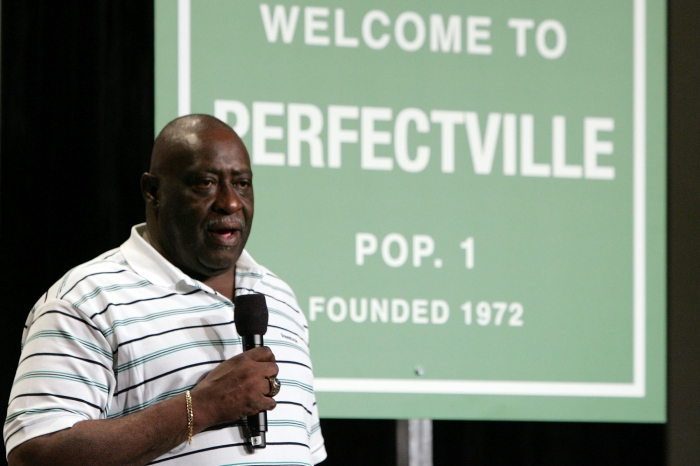 "Former Miami Dolphin Larry Little speaks during a press conference anouncing Reebok's new television campaign -dubbed ""Perfectville""- featuring members of the only undeated team in NFL history- the 1972 Miami Dolphins on February 1, 2008 at the Phoenix Convention Center in Phoenix, Arizona."