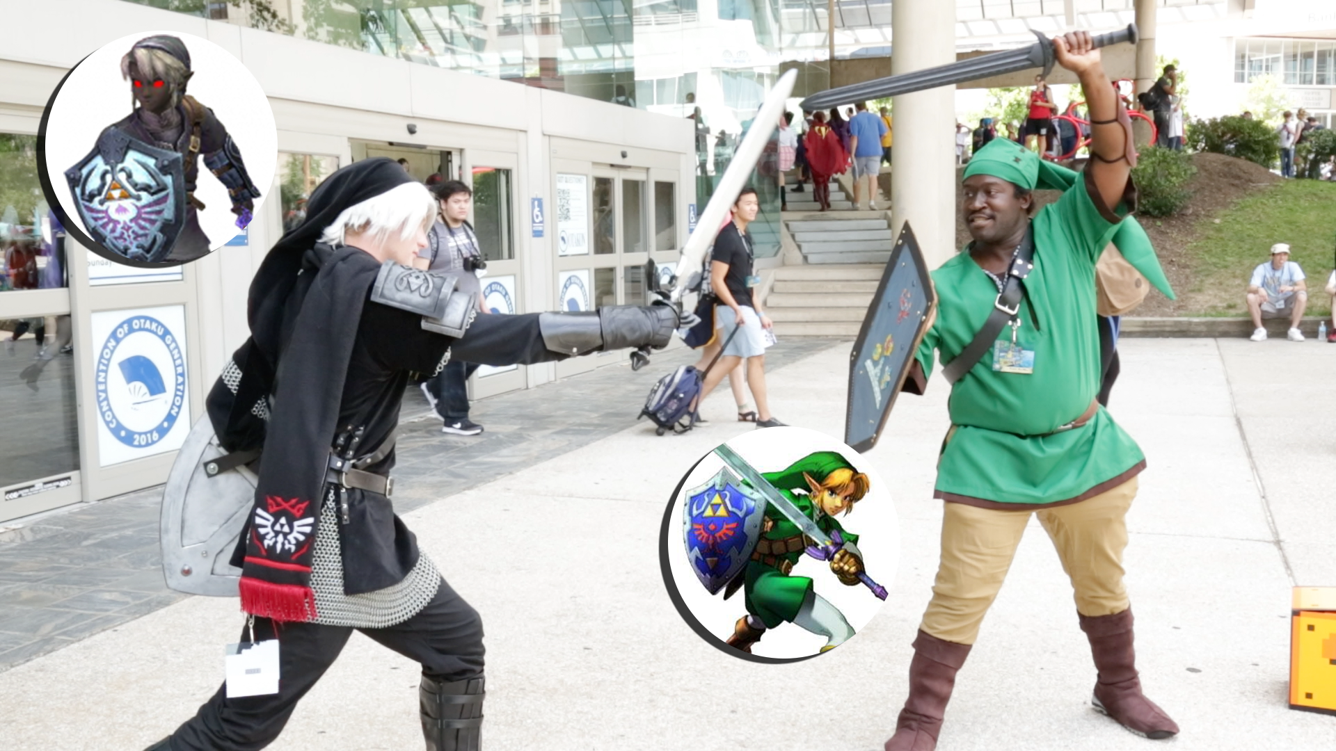 Link and Dark Link cosplayers