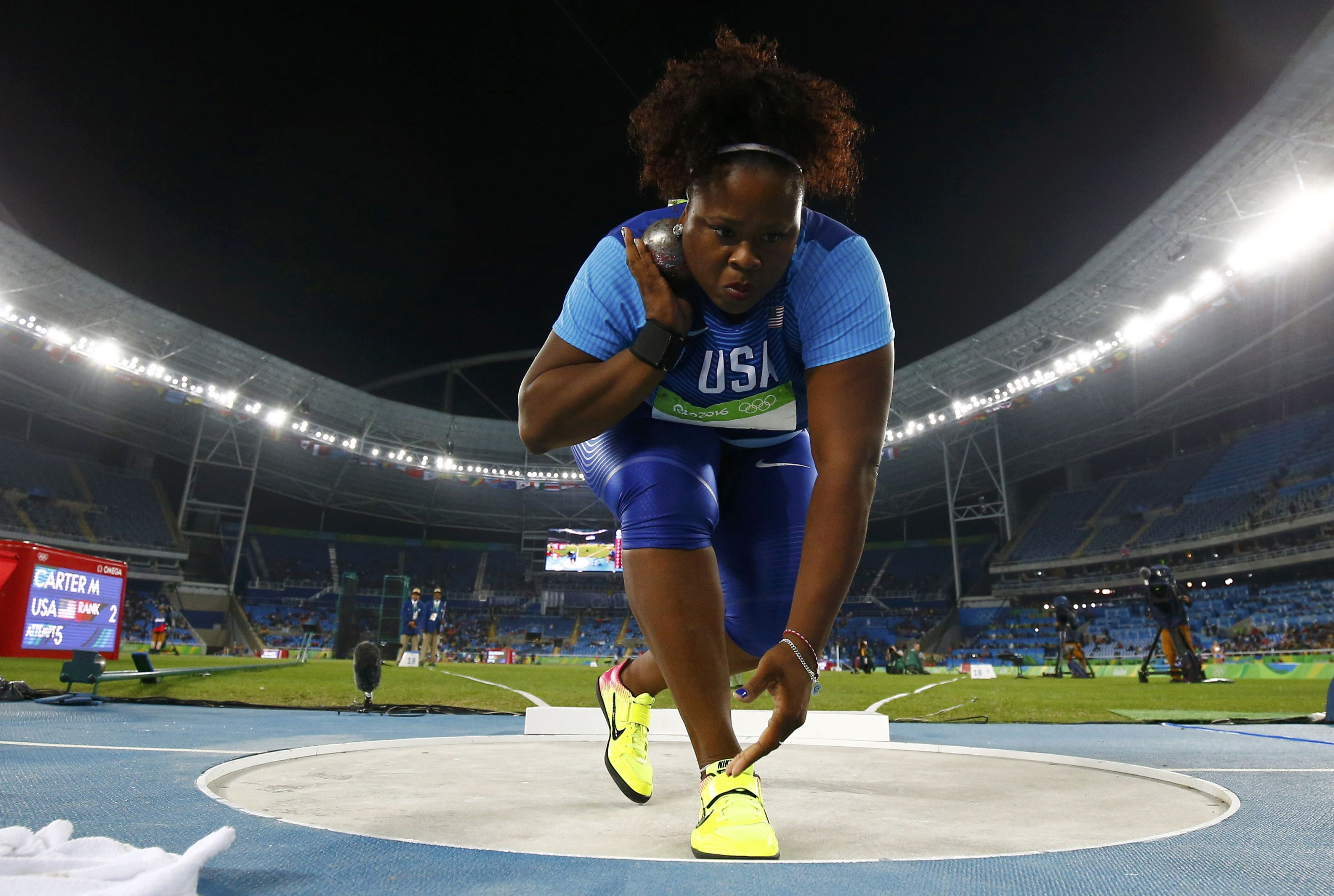 Michelle Carter (USA) of USA competes on her way to the gold medal in the women's shot put.