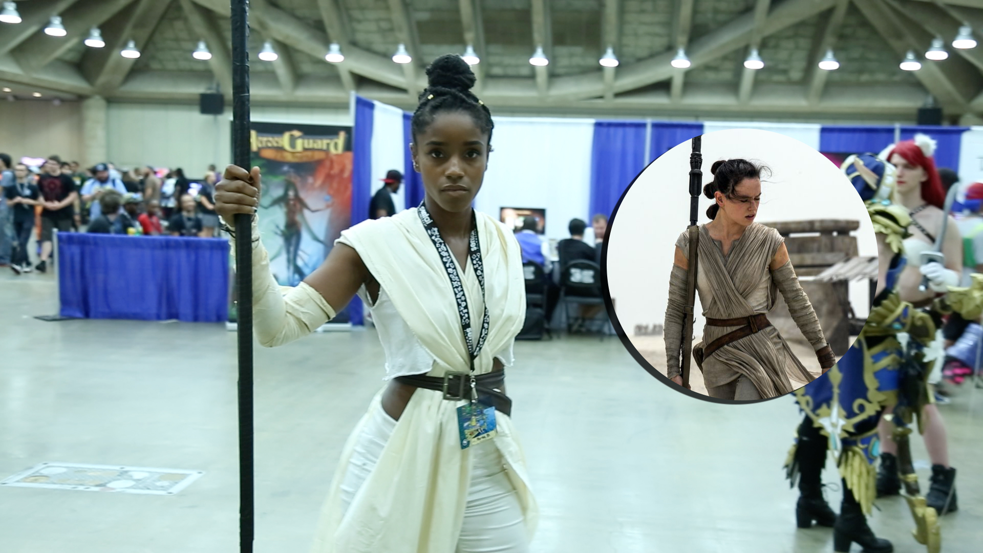 A cosplayer dresses as Rae from Star Wars