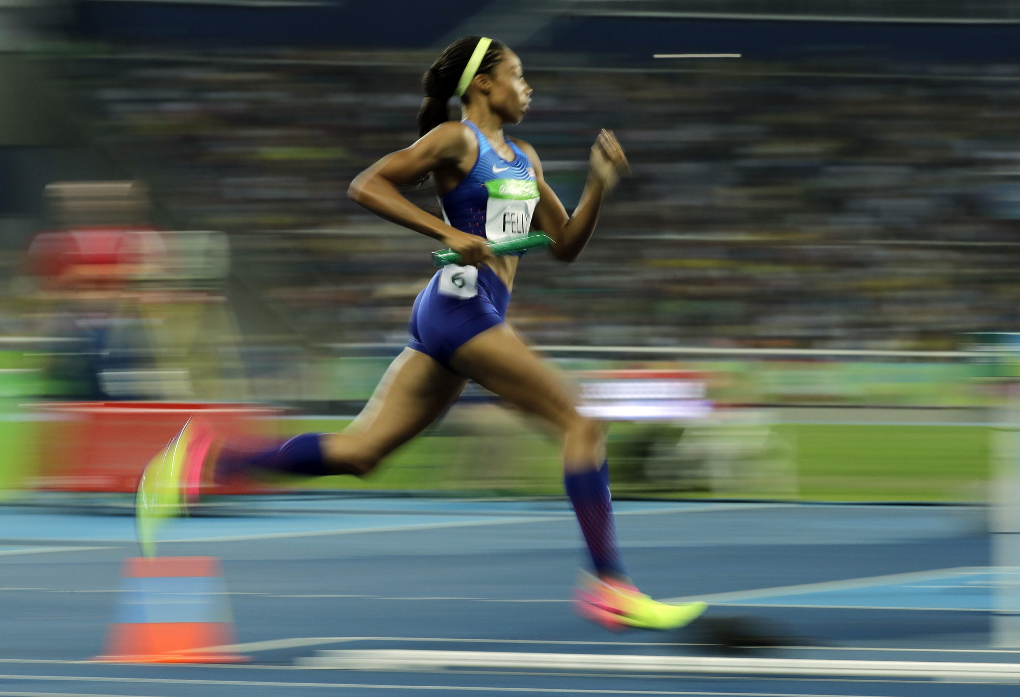 United States' Allyson Felix competes in the women's 4x400-meter relay final during the athletics competitions of the 2016 Summer Olympics at the Olympic stadium in Rio de Janeiro, Brazil, Saturday, Aug. 20, 2016.