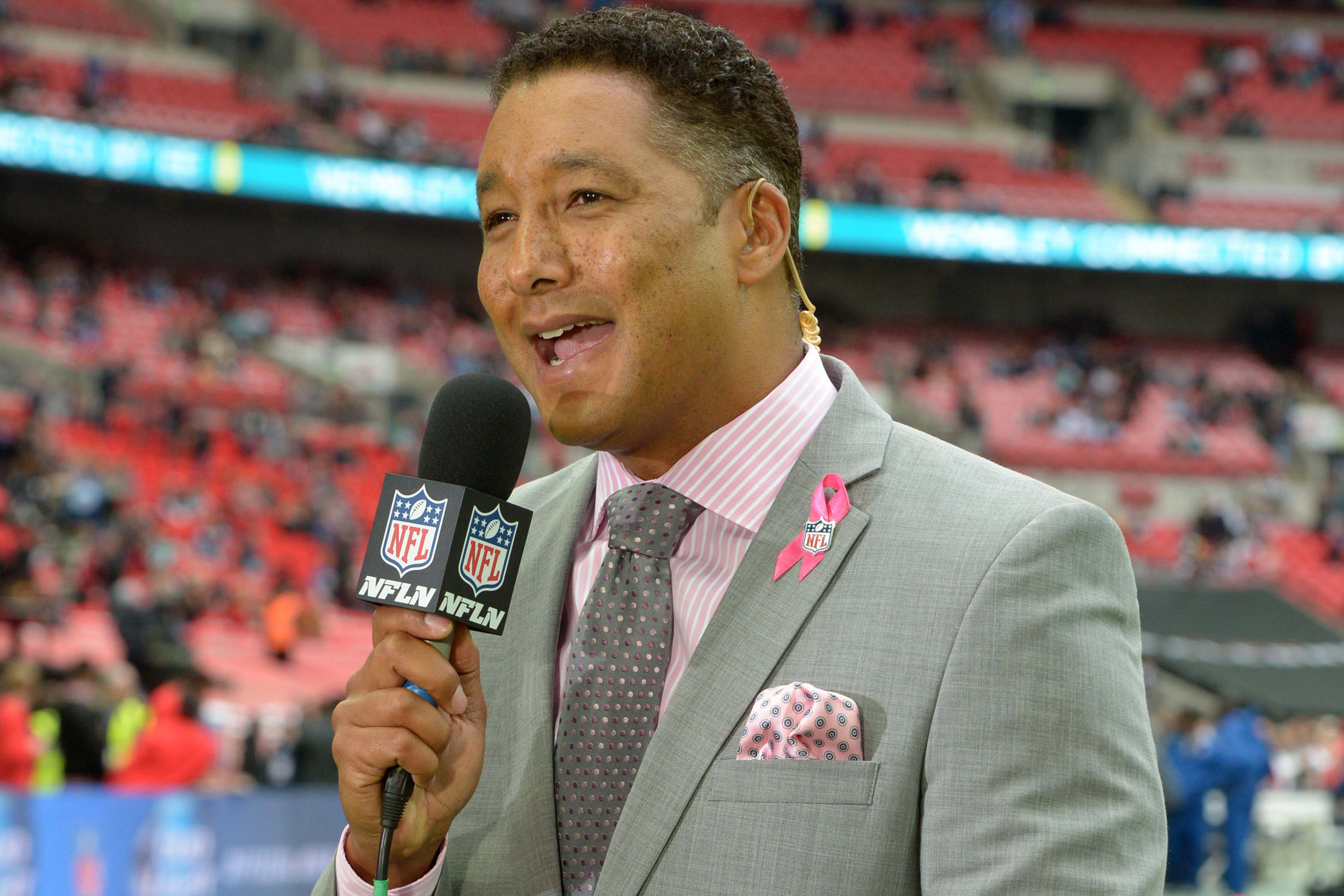 NFL Network reporter Steve Wyche during the NFL International Series game between the Detroit Lions and Atlanta Falcons at Wembley Stadium.