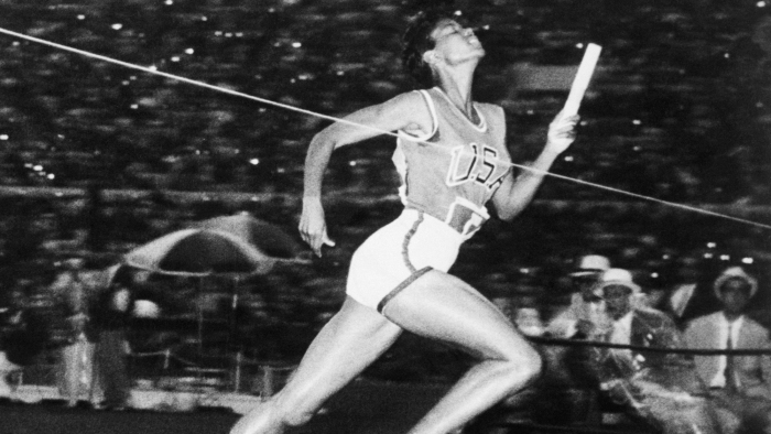 Wilma Rudolph Crossing the Finish Line in Relay