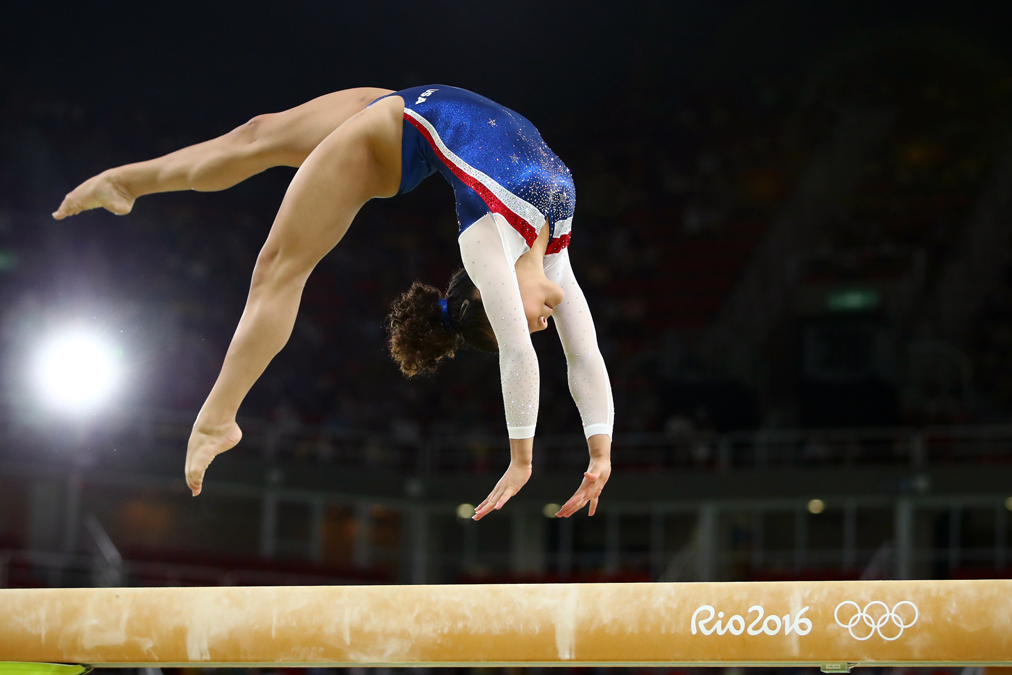Laurie Hernandez of the United States performs during the Gymnastics Rio Gala on Day 12 of the 2016 Rio Olympic Games on August 17, 2016 in Rio de Janeiro, Brazil.