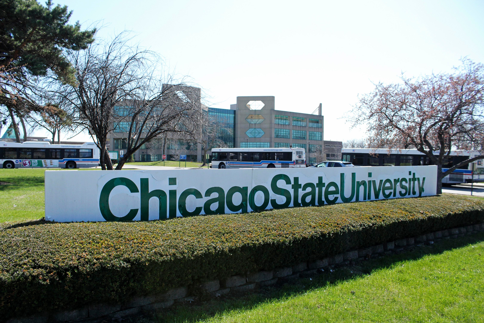 In this April 12, 2016 photo, a sign is seen at the entrance to Chicago State University in Chicago.