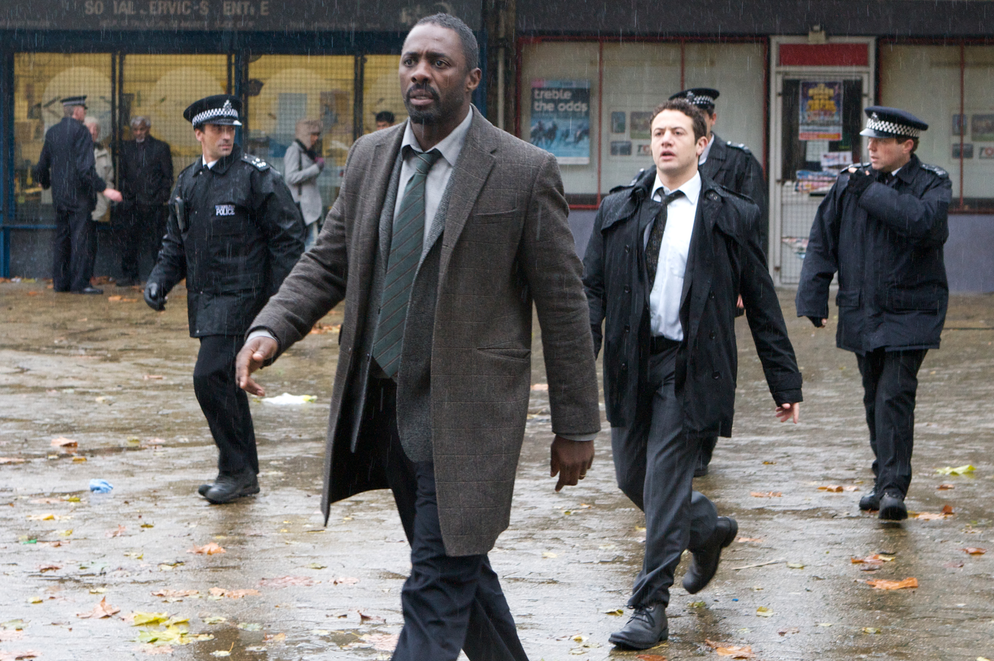 "In this publicity image released by the BBC, Idris Elba is shown in a scene from, ""Luther."" The program was nominated for an Emmy award on Thursday, July 19, 2012 for outstanding miniseries or movie."