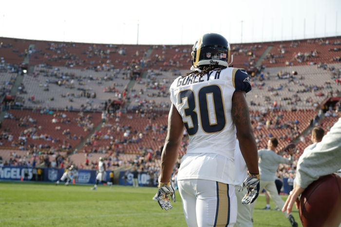 b661bed3f Los Angeles Rams running back Todd Gurley walks around the field prior to a  preseason NFL