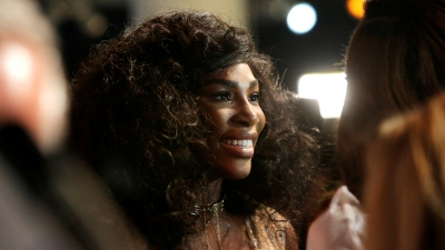 Tennis player Serena Williams speaks to the media as she arrives to present the Serena Williams Signature Statement Fall Collection at New York Fashion Week in Manhattan, New York, U.S.