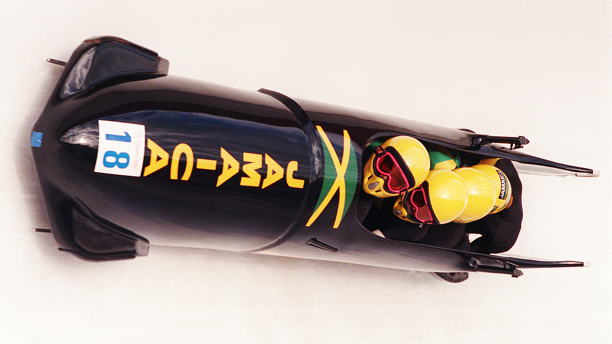 The Jamaican 4-man bobsled speeds down t