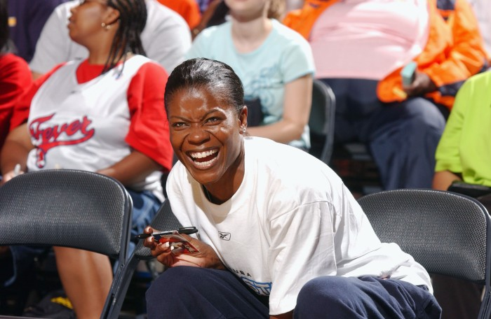 NEW YORK - JULY 11: Sheryl Swoopes #22 of the Houston Comets laughs during the 2003 WNBA All-Star Practice at Madison Square Garden on July 11, 2003 in New York, New York.