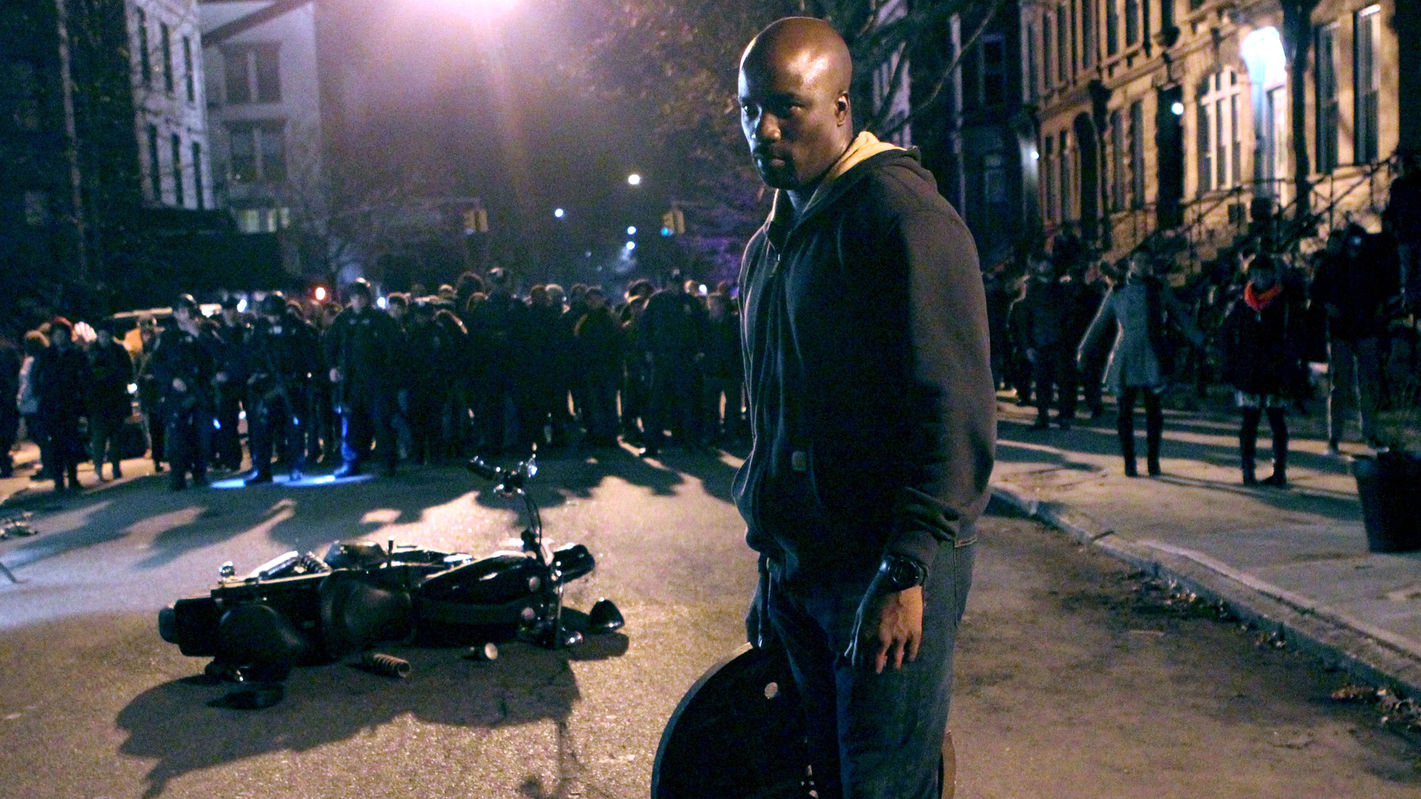 "Mike Colter as the title character in Marvel / Netflix's ""Luke Cage"" filming on March 27, 2016 in New York City."