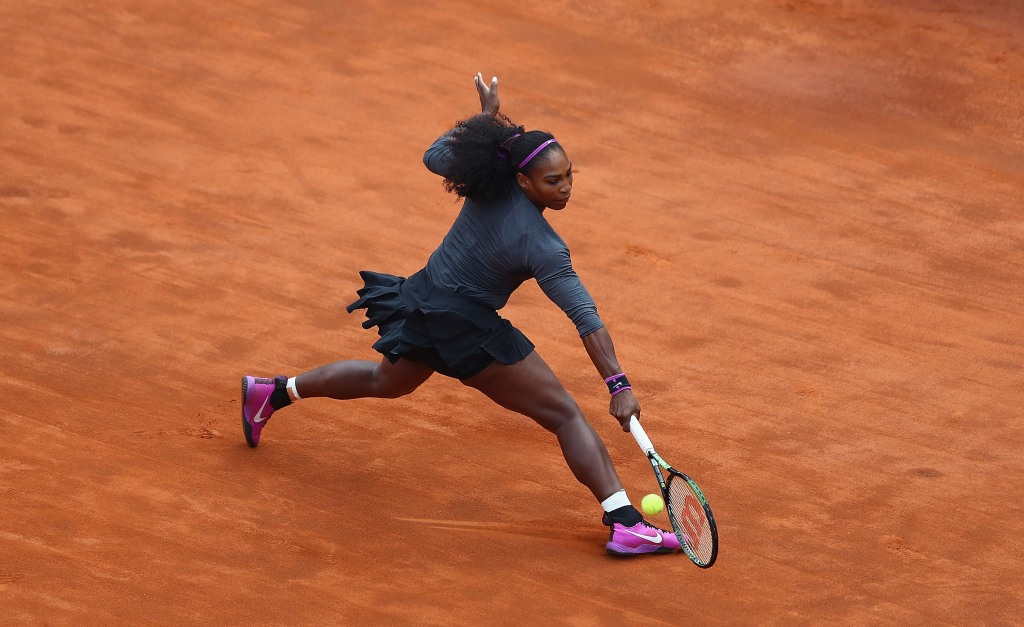 Serena Williams of the United States in action against Irina-Camelia Begu of Romania during day seven of The Internazionali BNL d'Italia 2016 on May 14, 2016 in Rome, Italy.