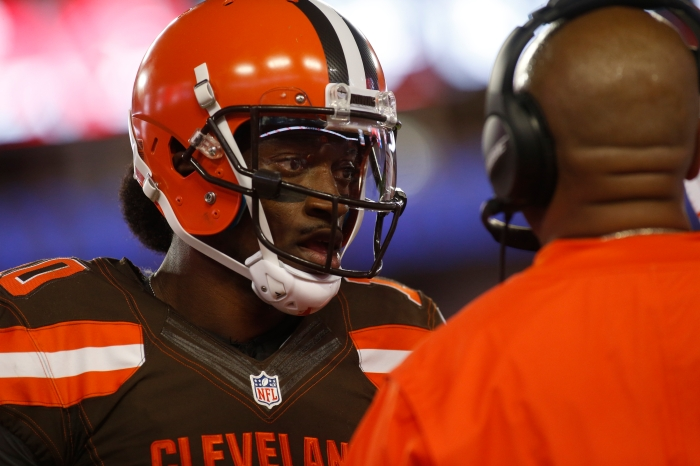 TAMPA, FL - AUGUST 26: Quarterback Robert Griffin III #10 of the Cleveland Browns speaks with head coach Hue Jackson during the first quarter of an NFL game against the Tampa Bay Buccaneers on August 26, 2016 at Raymond James Stadium in Tampa, Florida.
